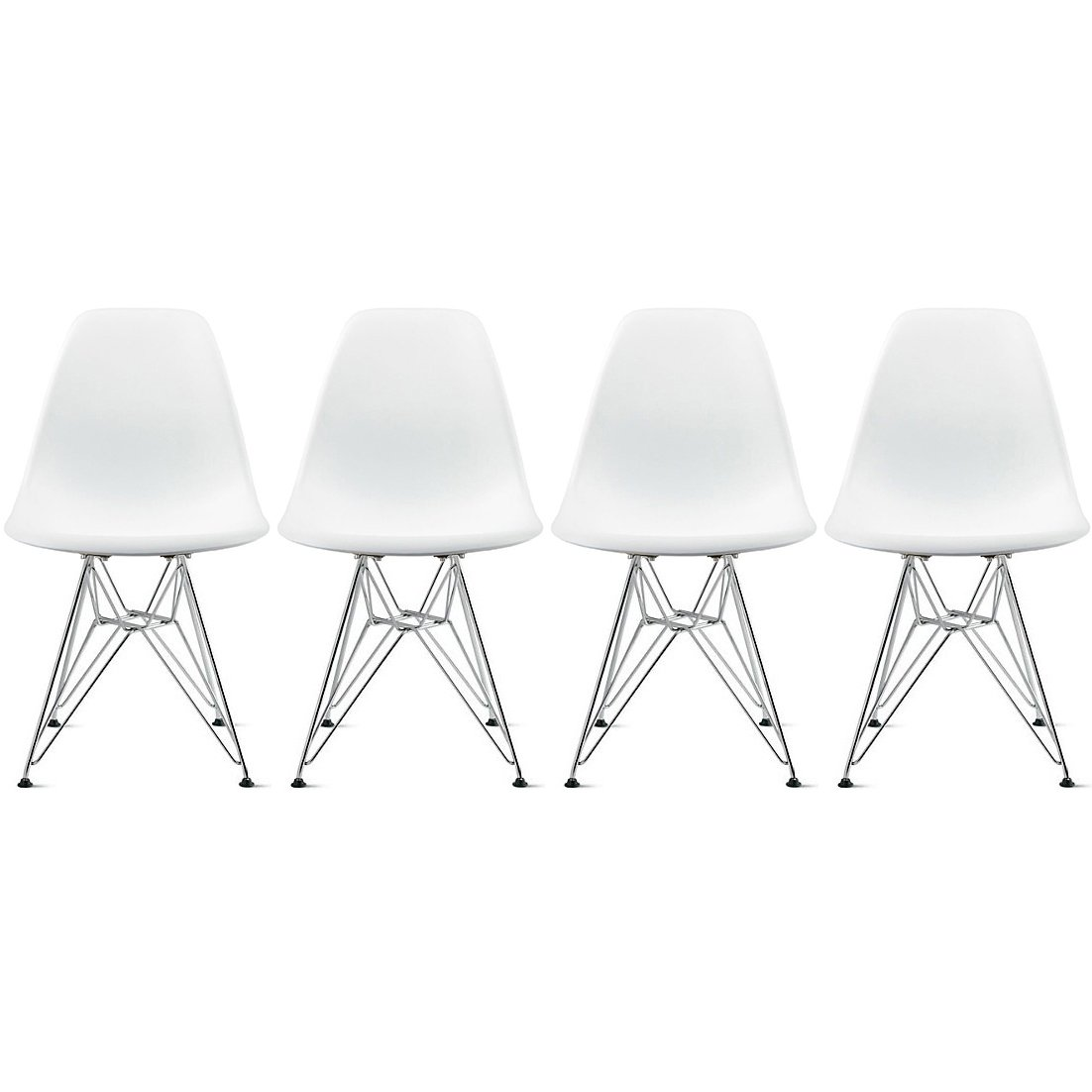 2xhome Set of Four 4 – Plastic Side Chair Chromed Wire Legs Eiffel Legs Dining Room Chair – Lounge Chair No Arm Arms Armless Less Chairs Seats Wire Leg White