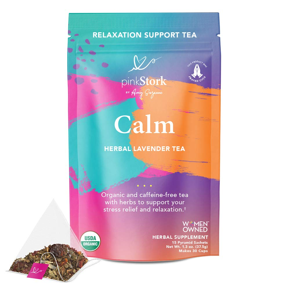 Pink Stork Calm Tea: Lavender Herbal Tea, 100% Organic, Stress Relief + Relaxation + Sleep Aid with Dandelion + Calming Natural Vanilla Flavor, Women-Owned, 30 Cups
