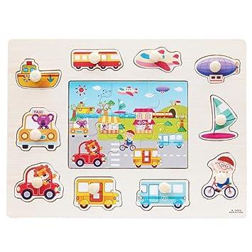 2c14afa6a7bd BOBORA Puzzles Infantiles de Madera Juegos Juguetes Educativos de Aprendizaje  Juguete Rompecabezas de Madera para Niños Pequeños de 1 Año (Rompecabezas  del ...
