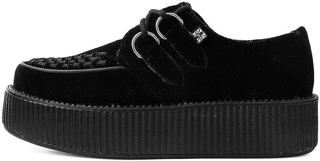 T.U.K Shoes Mens Womens Black Velvet High Sole Creeper