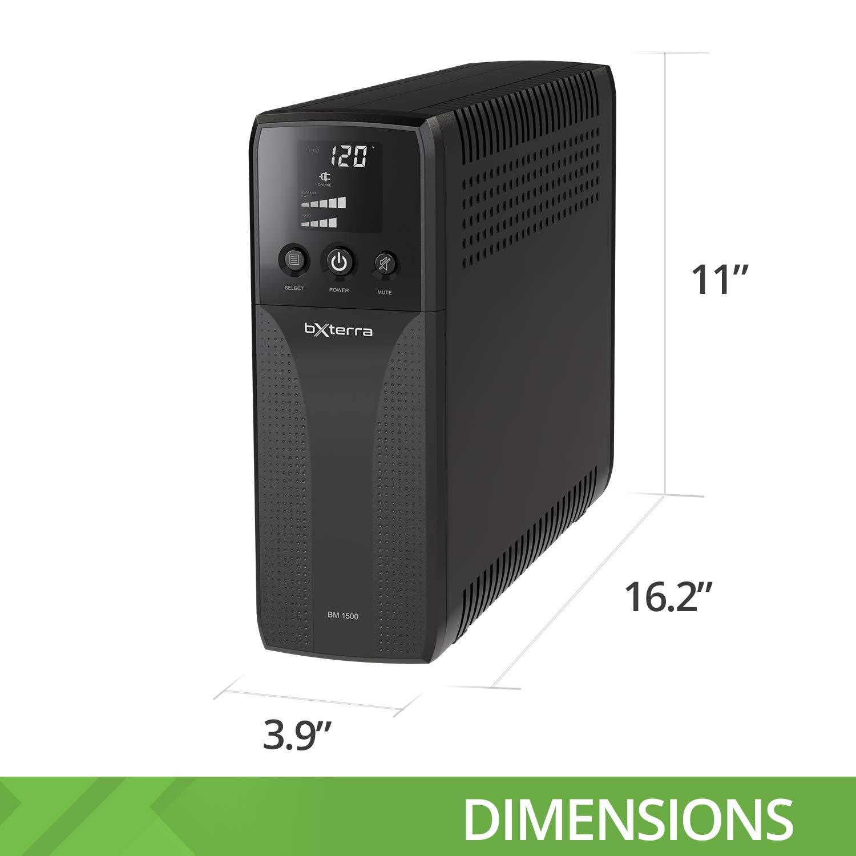 bXterra 1500VA UPS BM1500AVRLCD Intelligent LCD UPS Battery Backup, 10 Outlets, AVR, Easy Access Replaceable Battery, RJ11/RJ45/Coax, Contoured Design, Mini-Tower by bXterra (Image #5)