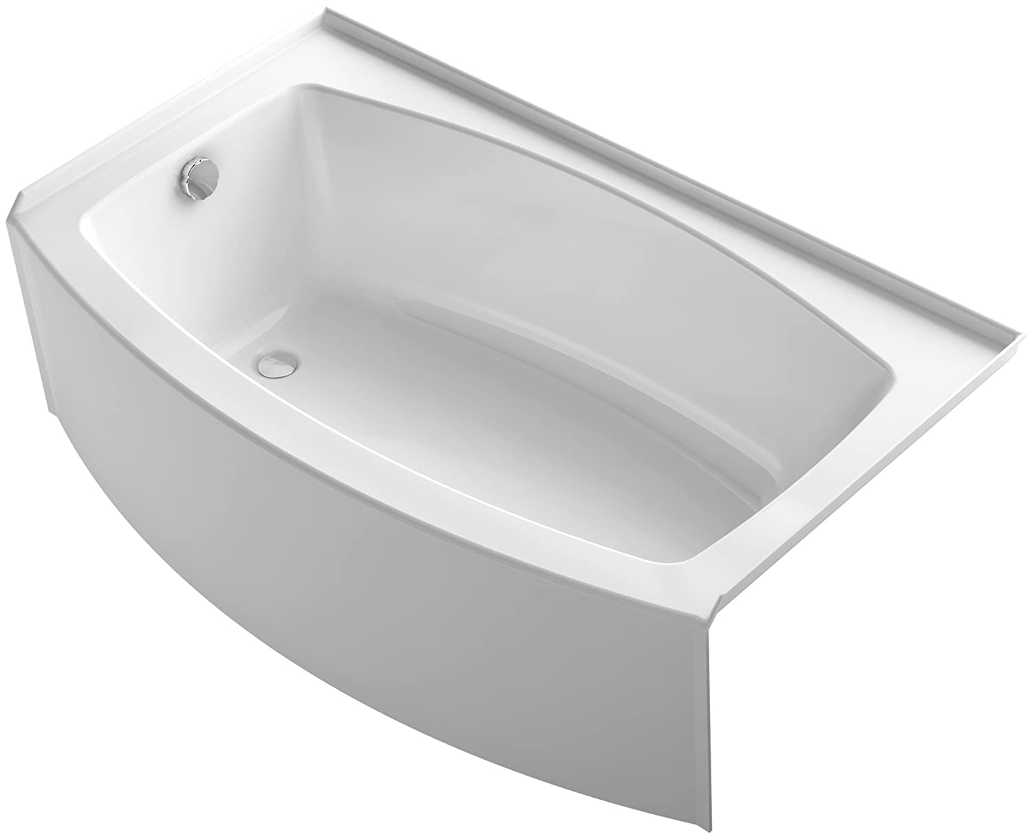 KOHLER K-1118-LA-0 Expanse 60 x 30 To 36 Curved Alcove Bath with Integral Apron, Tile Flange and Left-Hand Drain, White