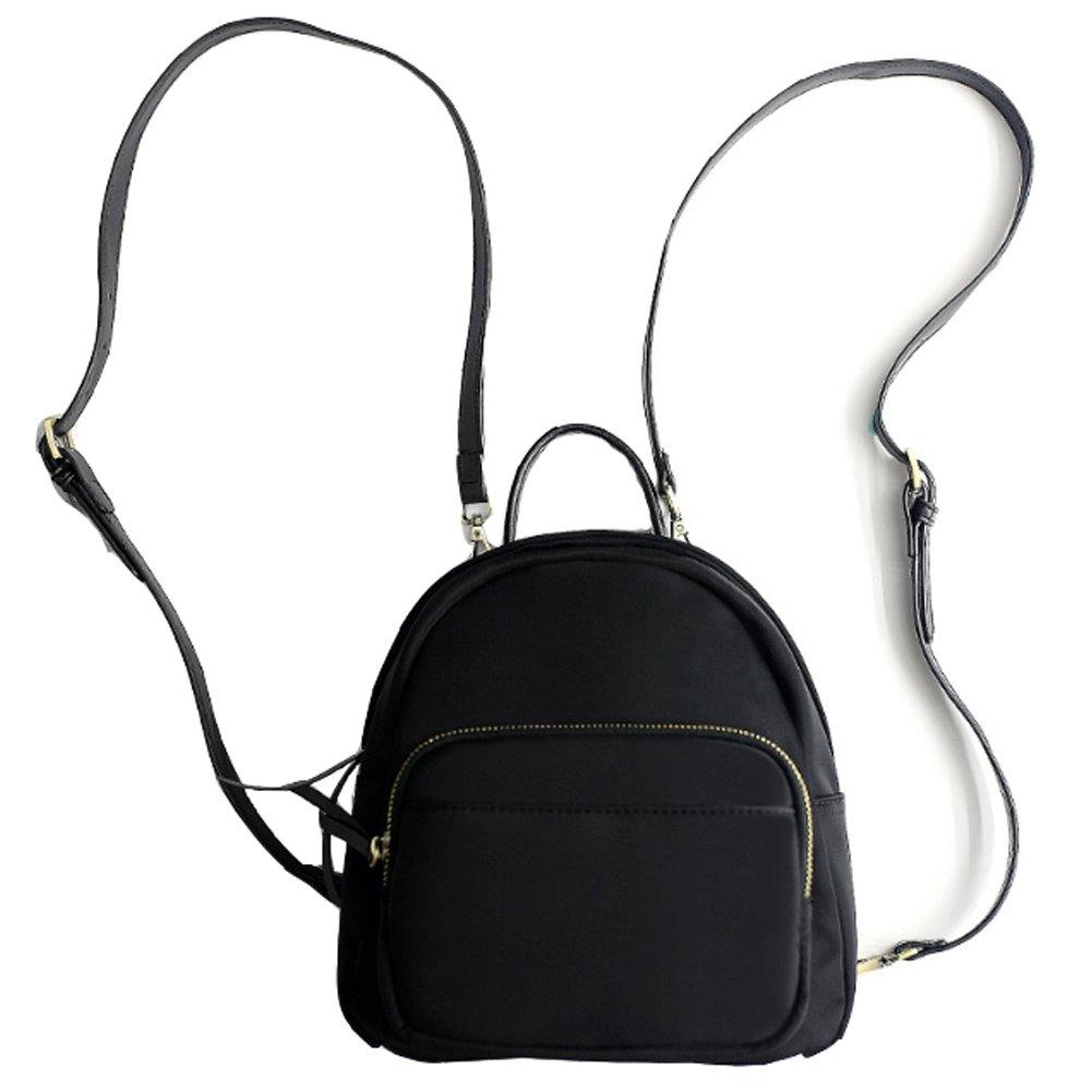 Z-joyee Mini Casual Backpack Purse Nylon Shoulder Bags for Women & Girls,Black
