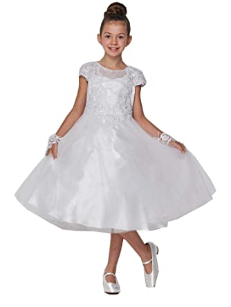 24f85ec8e68 Little Girls White Pearl Accented Embroidered Stylish Flower Girl Dress 4