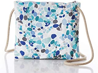 product image for Sea Bags Recycled Sail Cloth Sea Glass Print Slim Cross Body