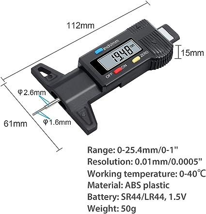SaniMomo Digital Display Electronic Tire Tread Depth Gauge Thread Rule 0-25.4mm
