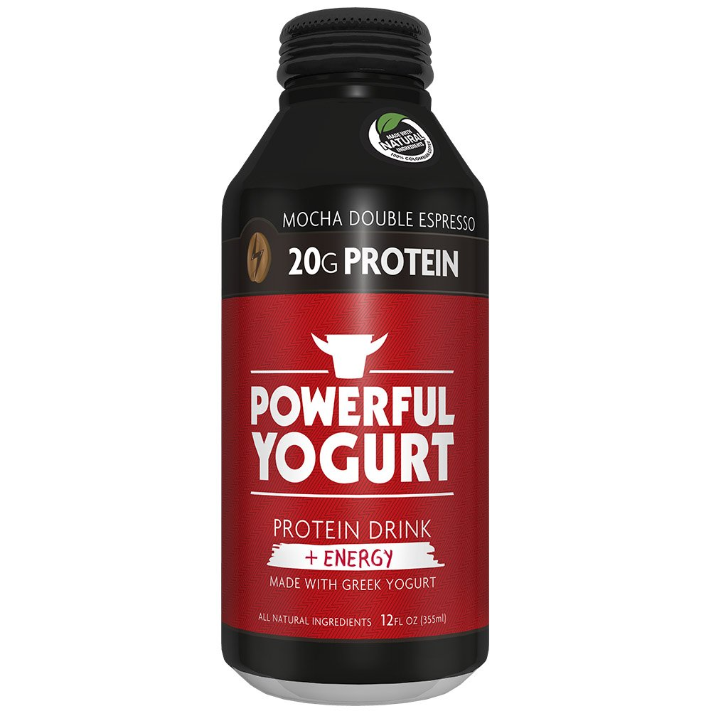 Powerful High Protein, Meal Replacement, Greek Yogurt Drink, Gluten-Free, Natural Ingredients, Kosher, 20g Protein, Mocha Double Expresso (12 count) by Powerful Foods