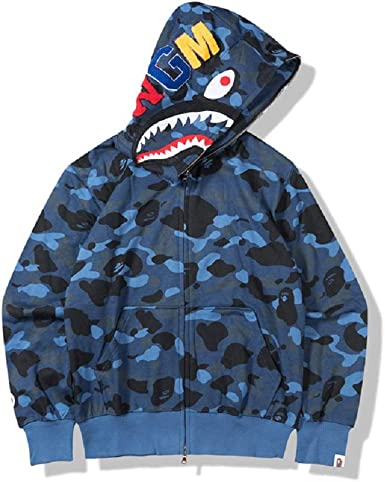 Bape Bathing ape Jacket SHARK Head Camo FULL ZIP HOODIE Long Sleeve Clothes!!