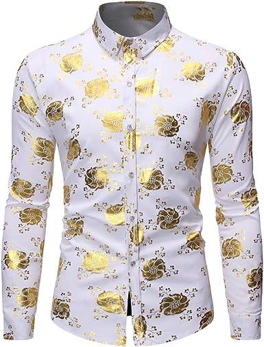 ZODOF Hombre Camisa Imprimir Manga Larga Otoño, Blusa Estampada Hombre Moda Flor Camisas Ocasionales de Manga Larga Slim Tops: Amazon.es: Ropa y accesorios