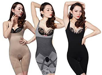 7e024338983c7 Slimming Body Shaper Bamboo Charcoal Bodysuit - Grey Black or Nude. (Large