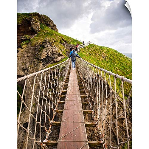 CANVAS ON DEMAND Carrick-a-Rede Rope Bridge, County Antrim, Northern Ireland Wall Decal, 30