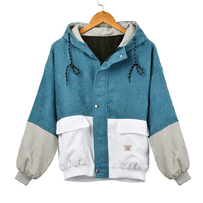 bad4f88ccd93 Rambling New Women Teen Hooded Color Block Corduroy Jacket Long ...