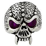 Serpentine Demon Skull Sterling Silver Purple Cubic Zirconia Eyes