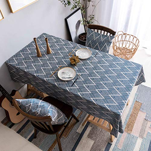 Home Brilliant Table Cloth Blue (52 x102 Inches) Tablecloth for Dining Table Zigzag Table Cover for Kitchen Party Patio Indoor Outdoor, Navy Blue