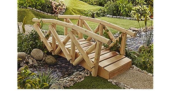 Jardín Puente con barandilla Jardín Puente puente puente Madera Jardín Decoración Estanque Transición: Amazon.es: Jardín