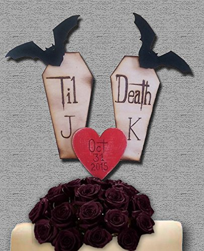 Halloween Wedding Cake Topper Bats Coffin