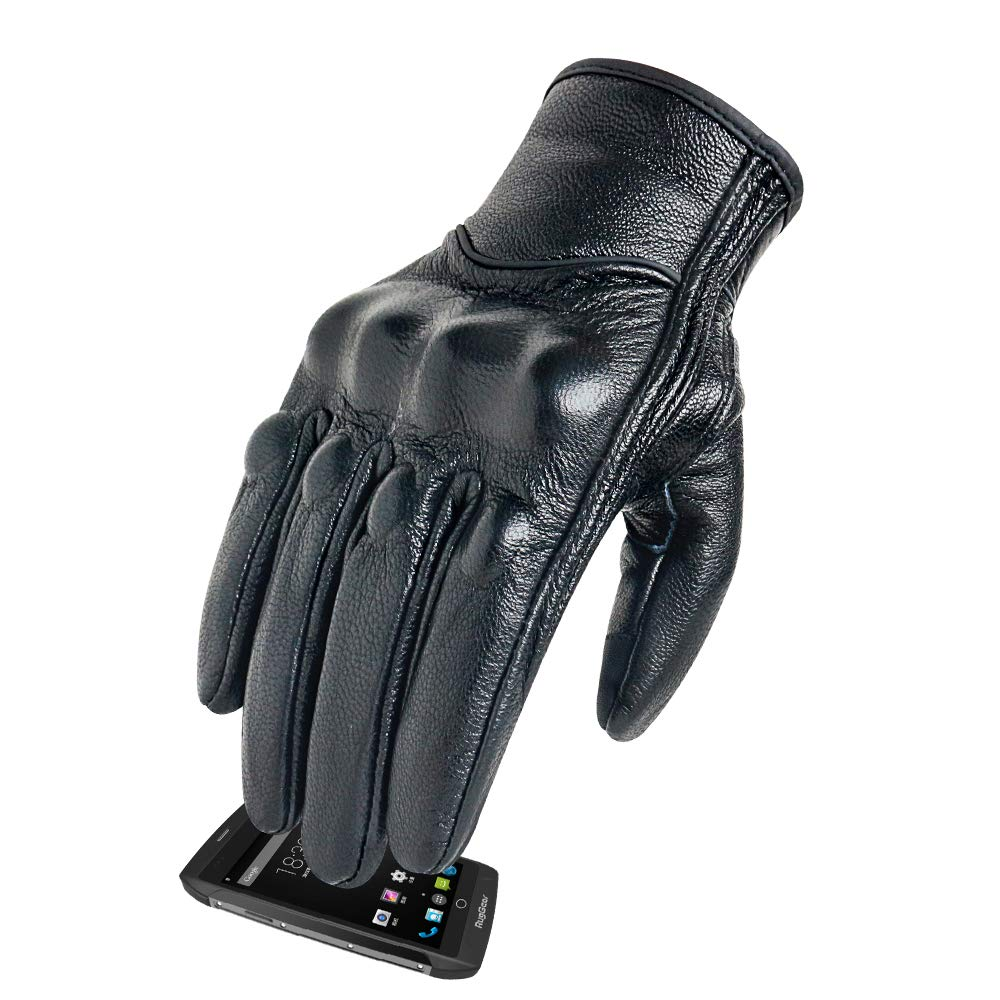 9828d675c Men's Cold Weather Motorcycle Gloves Touchscreen Hard Knuckle Armored  Motocross Gloves Leather Material With Thermal Liner For winter ...