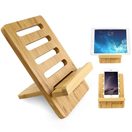 Icozzier Bamboo Adjustable Tablet Phone Stand Multi Angle Portable Holder For Tablets Or Cellphones
