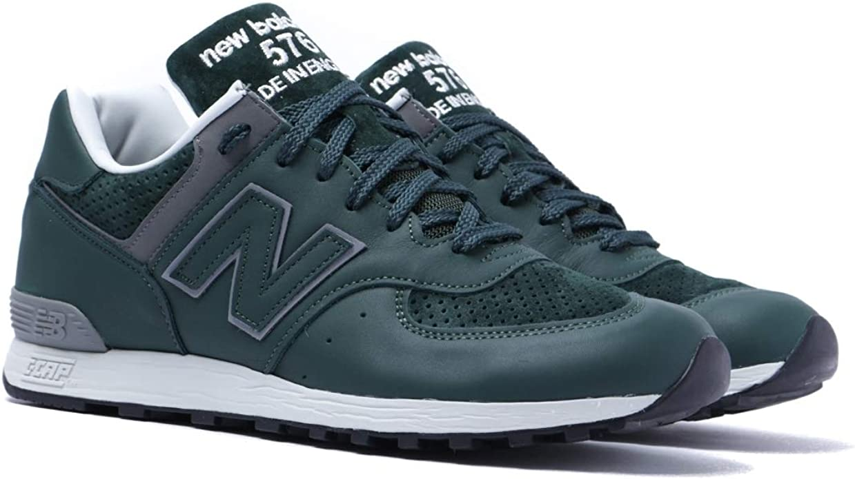 New Balance 576 Sneakers Herren Leder Wildleder Grün Made in England