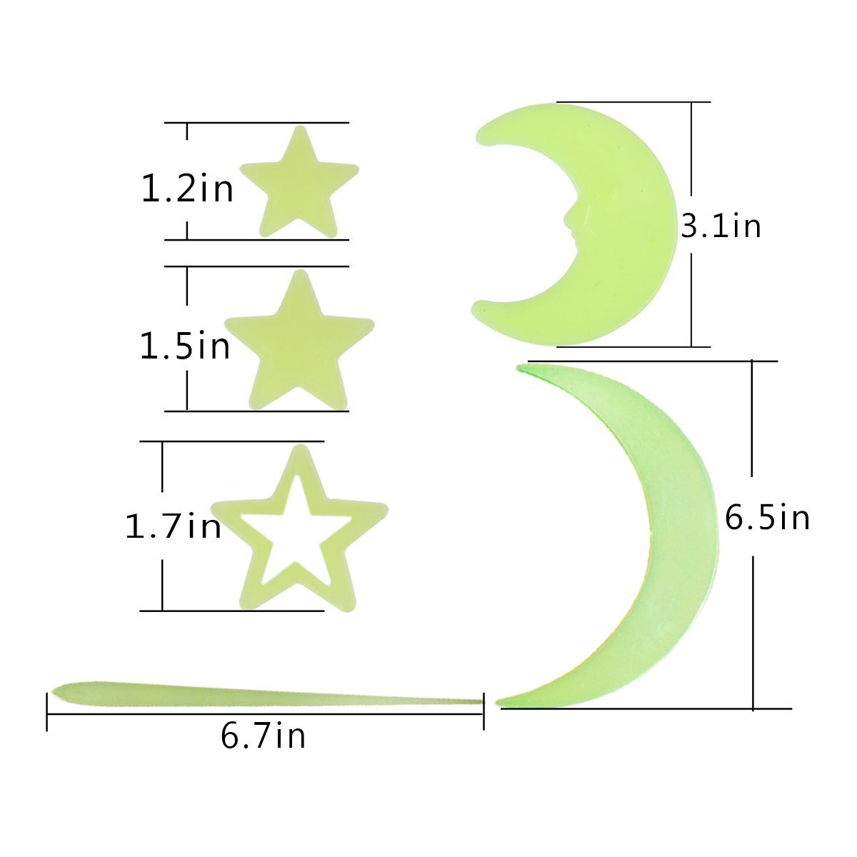 Luminous Sticker Glow in Dark 275 pcs Fluorescent Easy Peel and Stick Stars Meteors Moons Clouds for Wall and Ceiling of Baby Kids Room