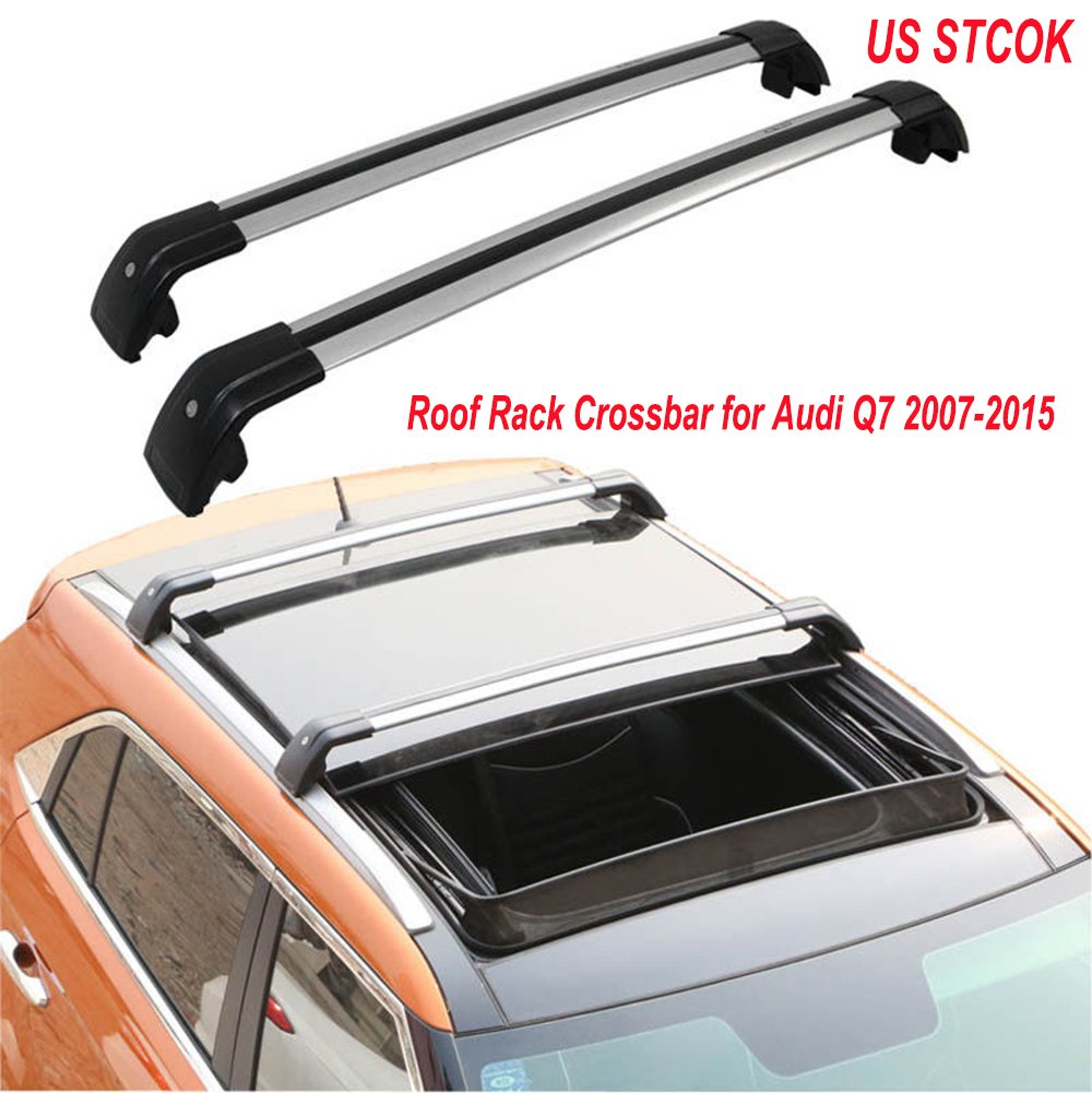 MotorFansClub Aluminum Cross Bar Crossbar for Audi Q7 2006-2016 Roof Rack Rail Silver Lockable