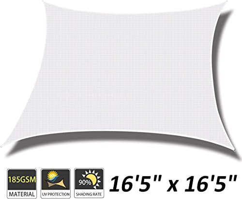 Cool Area 16 5 x 16 5 Square Sun Shade Sail for Patio Garden Outdoor, UV Block Canopy Awning, White