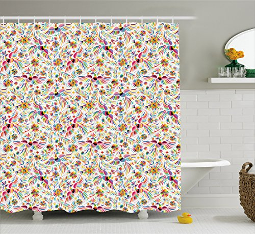 Mexican Bathroom Decor (Mexican Shower Curtain by Ambesonne, Colorful Nature Inspired Ethnic Pattern Birds Flowers Leaves and Dots Creativity, Fabric Bathroom Decor Set with Hooks, 105 Inches Extralong, Multicolor)