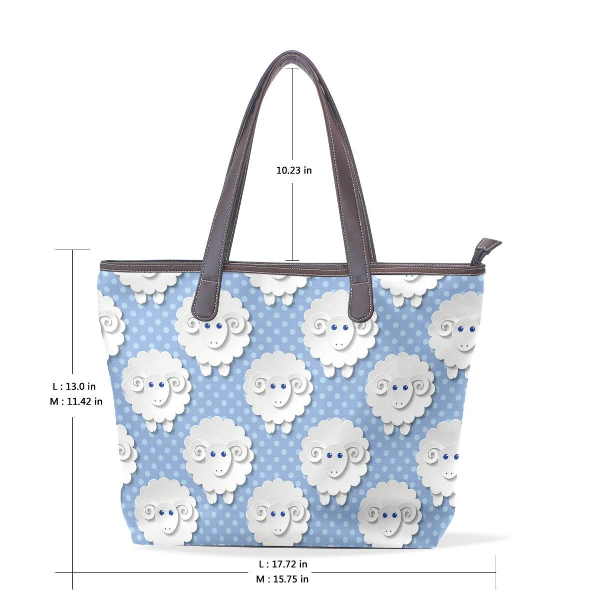 White Sculpture Chic Sheep Womens Leather Handbag Shoulder Bag Satchel Handbags Leather Tote Purse Women Handle Handbags