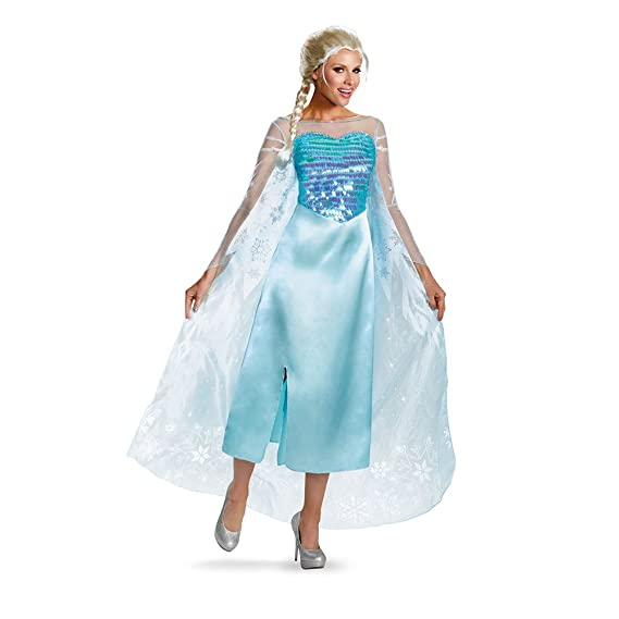 Disguise Women's Disney Frozen Elsa Deluxe Costume, Light Blue, Small/4-6