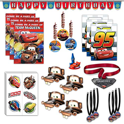 Disney Cars Birthday Party Favors Bundle - 8 Guest - Invites, Thank You Cards, Candle Holder, Temporary Tattoos, Medals, Party Hats, Favor Bags, Banner, Hanging Decorations & Guest of Honor Medal ()