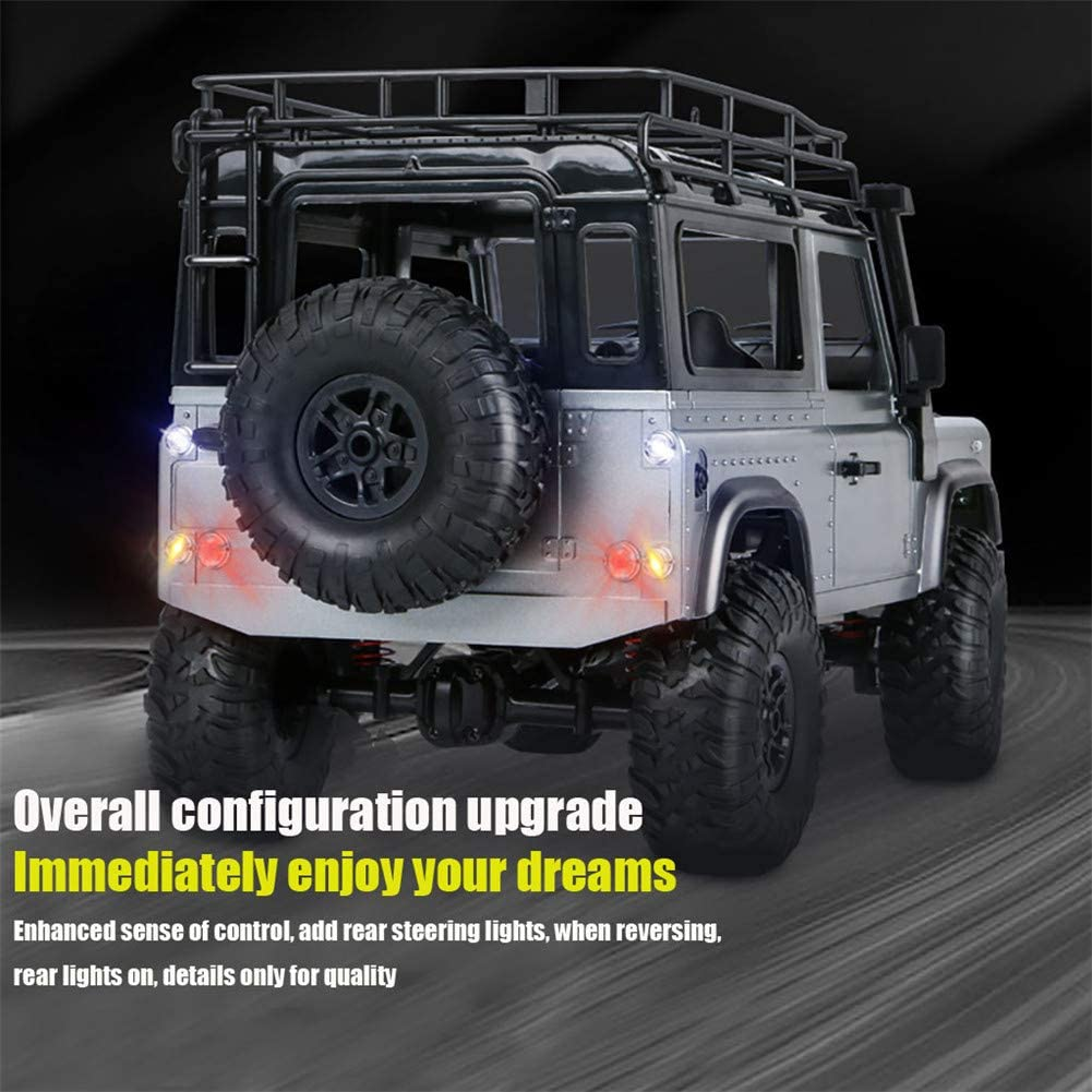 Not Included DragonPad RC Remote Control Car MN 99s 2.4G 1//12 4WD RTR Crawler RC Car Off-Road Buggy for Land Rover Vehicle Model with Front and Rear Lights Battery Operated Gray Two Batteries