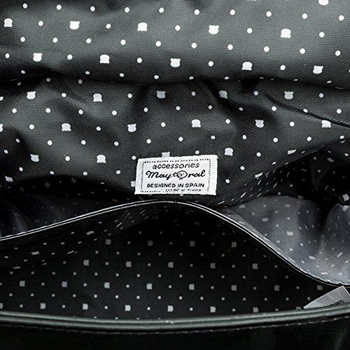 Bolso de bebé en microfibra y polipiel con complementos NEGRO