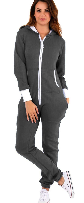 74654efa22b Vanilla Inc New Adult Ladies Womens Zip Up Fleece Hooded Onesie Pyjamas Zipped  Hoodie Sweats Pants All In One Playsuit Jumpsuit Plus Size 8-22  ...