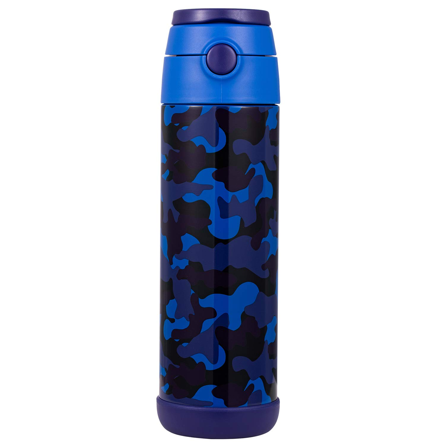 Snug Flask for Kids (500ml) - Vacuum Insulated Water Bottle with Straw (Camo)