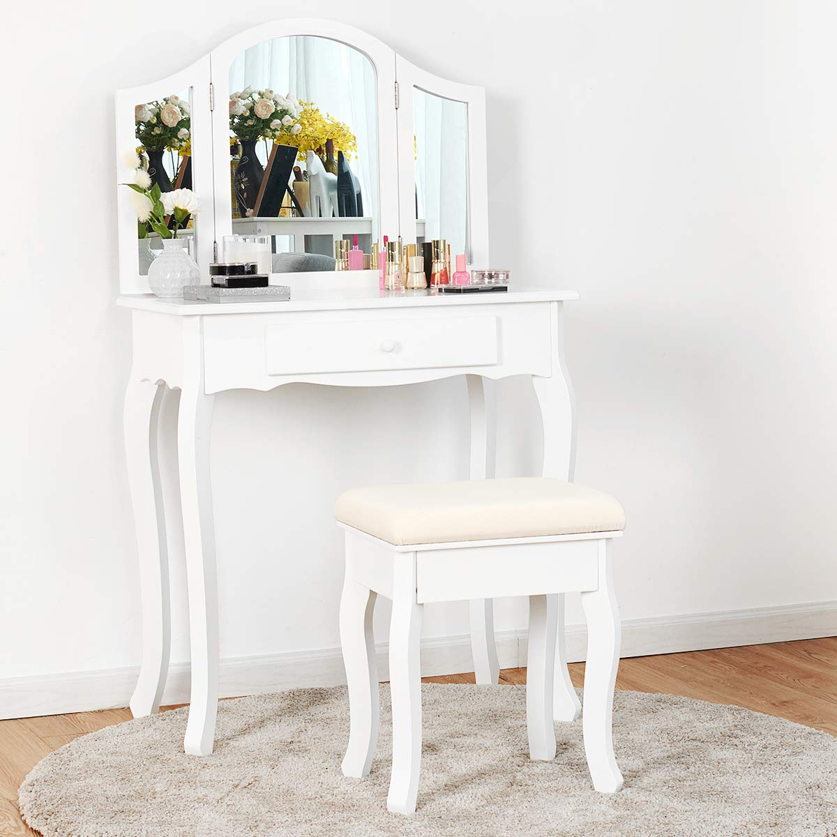Giantex Vanity Set with Tri-Folding Mirror and Cushioned Stool, Wooden Makeup Table and Stool Set, Modern Bathroom Bedroom Vanity Desk, Women Girls Kids Vanity Set White
