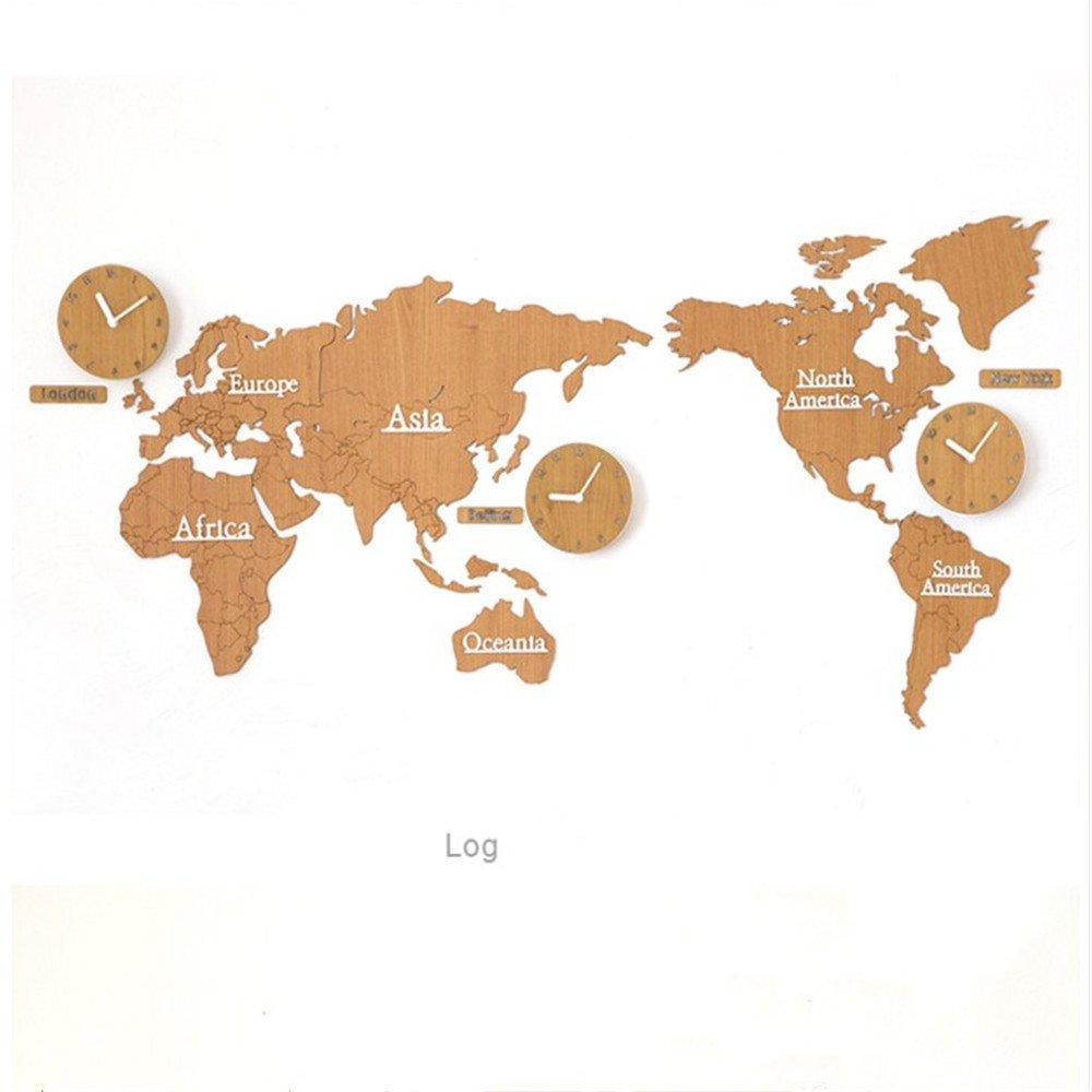 GDXRB 地図北欧クロック時計ウォールクロッククリエイティブなファッションリビングルームの近代的な家の装飾人格懐中時計 (Color : Wood color) B07CW19RNY Wood color Wood color