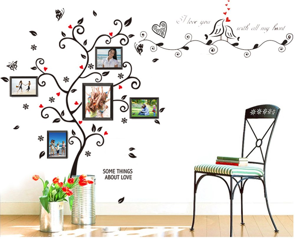 Amazon bogzon kiss birds trees hearts leaves black photo amazon bogzon kiss birds trees hearts leaves black photo picture frame decal removable wall decals large wall stickers love quotesdecorative painting amipublicfo Choice Image