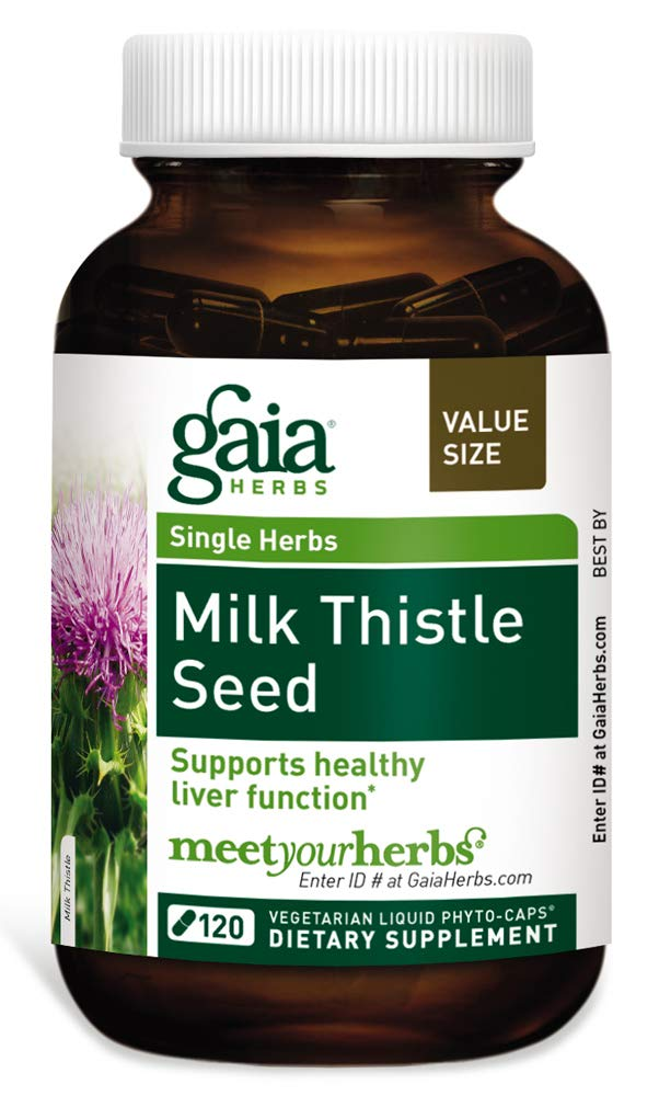 Gaia Herbs Milk Thistle Seed, Vegan Liquid Capsules, 120 Count - Liver Cleanse Supplement to Support Detox and Metabolism, 600 mg Concentrated Extract