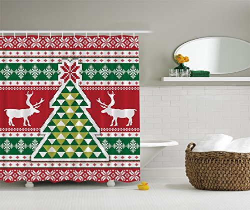 Christmas Knitting Pattern Christmas Tree Christmas Decor - Shower Curtain - Water, Soap, and Mildew Resistant - Machine Washable - Red Green White Lime