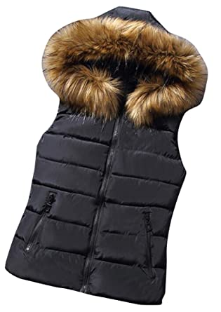056f4daa7 LD Womens Winter Faux Fur Hooded Quilted Puffer Padded Vest Jacket ...