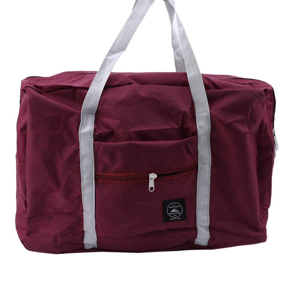 HAOWANG Large Capacity Foldable Travel Bag Clothing Bag Shopping Shoulder Nylon Bag Women's Trolley Bag Luggage Bag Wine Red by HAOWANG (Image #2)