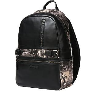 Bison Denim Mens Real Leather Men's Hiking Backpack Bookbag Travel bag (Black5)