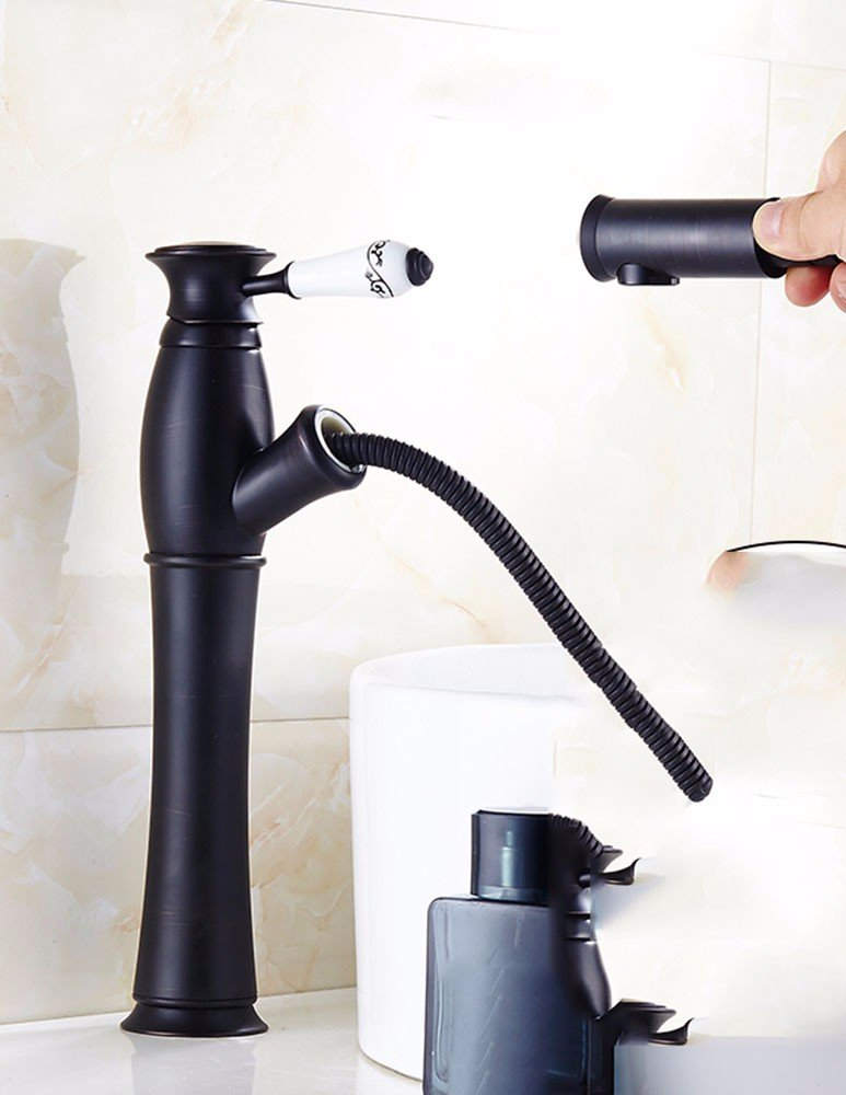AWXJX Ceramics Sink Mixer Taps Copper Pull Out Bath Wash Your Face Swivel Hot and Cold Coated
