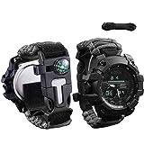 wejie Survival Bracelet Watch, Men and Women Digital Outdoor Sports Watch, 6-in-1 Waterproof Emergency Survival Watches…