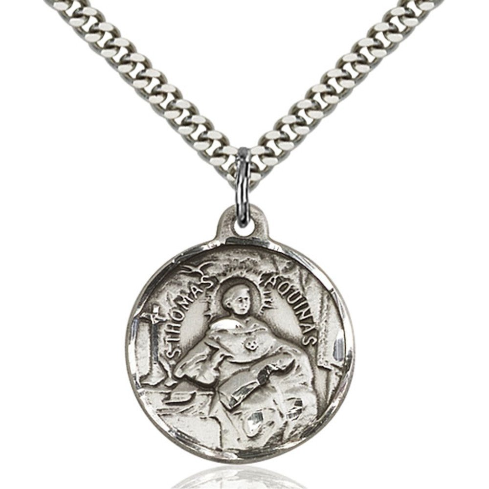 Sterling Silver St. Thomas Aquinas Pendant 7/8 X 3/4 inches with Heavy Curb Chain