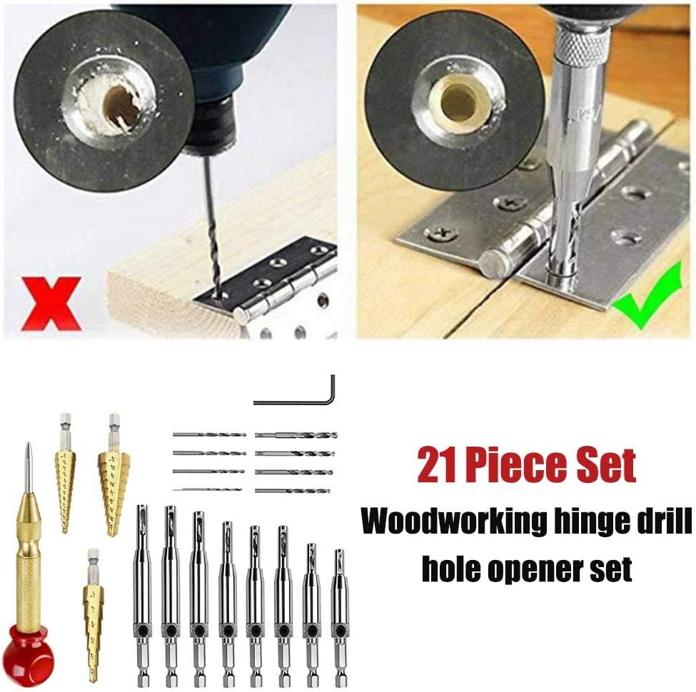 Hinge Tapper Set 21pcs Self Centering Hinge Tapper Core Hole Puncher High Speed Steel Door Window Center Drill Bits Set For Woodworking