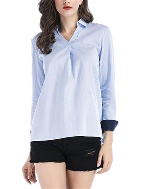 BESTHOO Camisa De Manga Larga Mujer Camisetas Color SÓLido Blusa De Elegante Casual T Shirt De Cuello V Camisa Sencillos Bonitas Tops Loose: Amazon.es: Ropa ...