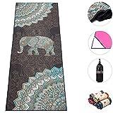 "Boence Yoga Towel,100% Microfiber Yoga Mat Towel with Corner Pocket Design - Anti-Slip & Sweat Absorbent & Machine Washable 72"" x 26"" Print Yoga Blanket Towel - Perfect for Hot Yoga, Pilates, Fitness"