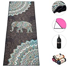 "Hot Yoga Towel, Boence 100% Microfiber Fitness Towel Yoga Blanket Non Slip & Sweat Absorbent & Machine Washable 72""x24"" Print Yoga Carpet Mat Towel - Perfect for Bikram, Ashtanga, Pilates, Sports etc."