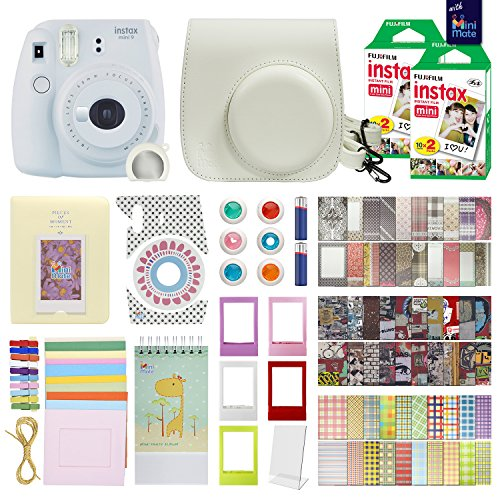 Fujifilm Instax Mini 9 Instant Camera Smokey White with Carrying Case + Fuji Instax Film Value Pack (40 sheets) Accessories Bundle, Color Filters, Photo Album, Assorted Frames, Selfie Lens + More by MiniMate